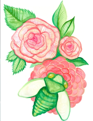 STILL LIFE: CICADA AND FLOWERS